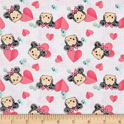 Disney Tsum Tsum Minnie Hearts Pink 100% Cotton Fabric