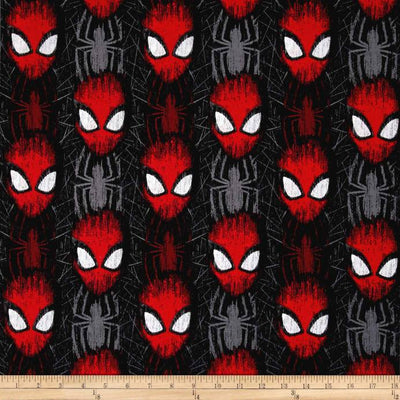 Marvel Spiderman Spider-Man Head Toss Black 100% Cotton Fabric
