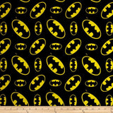 Batman Logo on Black 100% Cotton Fabric