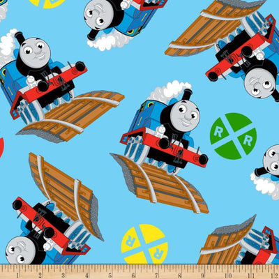Thomas & Signs Print Blue Anti Pill Fleece Fabric