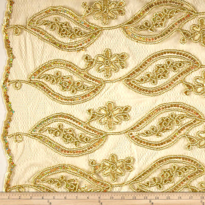 Gold Mango Coco Embroidered Lace Fabric