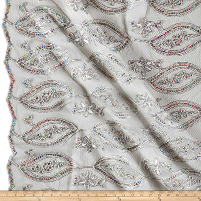 Silver Mango Coco Embroidered Lace Fabric