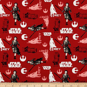 Star Wars Refresh Rey Ruby 100% Cotton Fabric