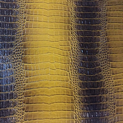 Black Yellow Two Tone Alligator Vinyl Fabric / 40 Yards Roll