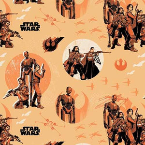 Star Wars Rebels In Orange Rogue One 100% Cotton Fabric