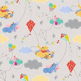 Winnie The Pooh With Dots Gray 100% Cotton Fabric