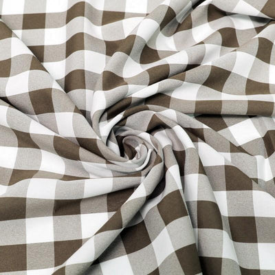Brown White Checkered Gingham Polyester Poplin Fabric