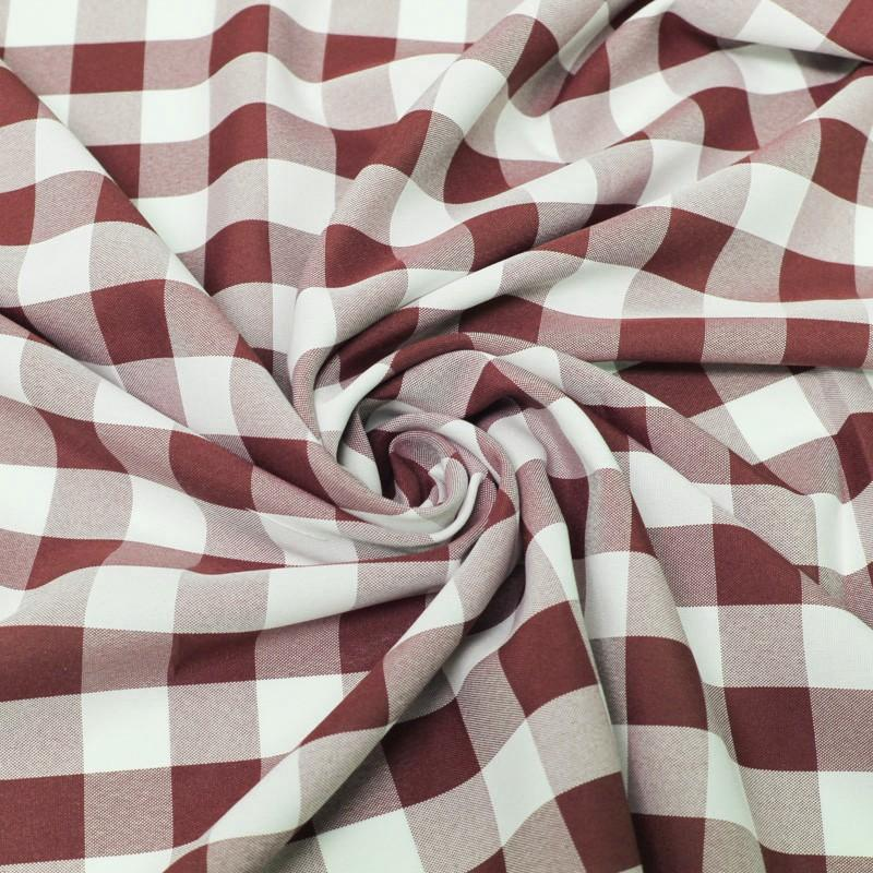 Burgundy White Checkered Gingham Polyester Poplin Fabric