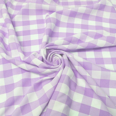 Lavender Checkered Gingham Polyester Poplin Fabric