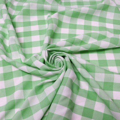 Lime Checkered Gingham Polyester Poplin Fabric
