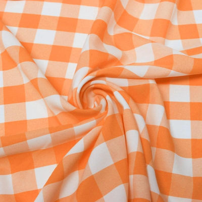 Orange White Checkered Gingham Polyester Poplin Fabric