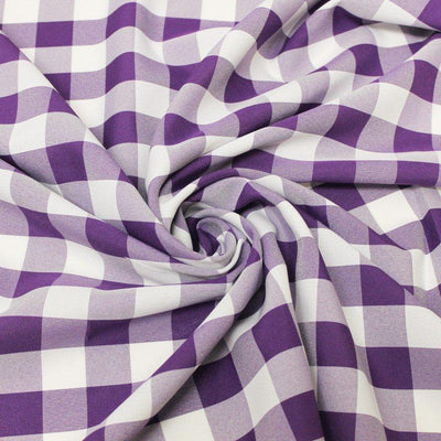 Purple Checkered Gingham Polyester Poplin Fabric