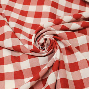Red White Checkered Gingham Polyester Poplin Fabric