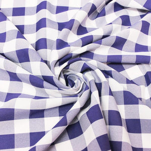 Royal White Checkered Gingham Polyester Poplin Fabric