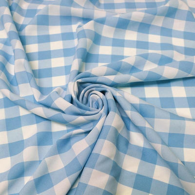 Turquoise Checkered Gingham Polyester Poplin Fabric