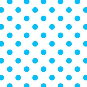 "1"" One Inch Blue Dots on White Poly Cotton Fabric"