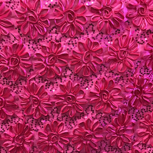 Fuchsia Sequined Rosette Satin Fabric