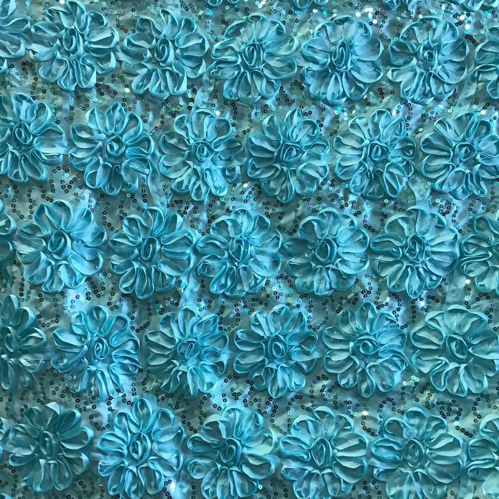 Aqua Sequined Rosette Satin Fabric