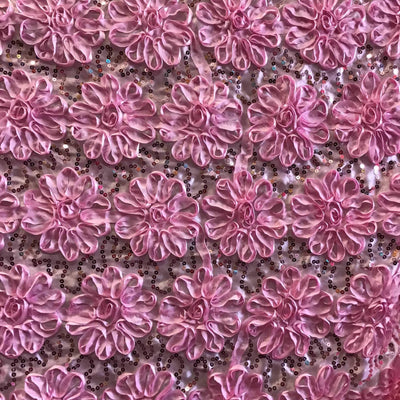Pink Sequined Rosette Satin Fabric