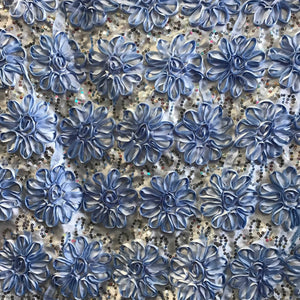 Light Blue Sequined Rosette Satin Fabric