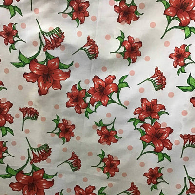 Florals and Polka Dot on White Poly Cotton Fabric