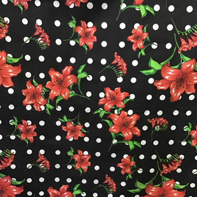 Florals and Polka Dot on Black Poly Cotton Fabric
