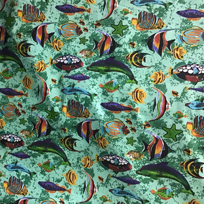 Marine Mixed Fish Green Poly Cotton Fabric