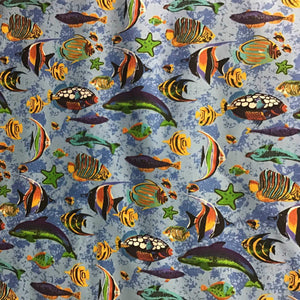 Marine Mixed Fish Light Blue Poly Cotton Fabric