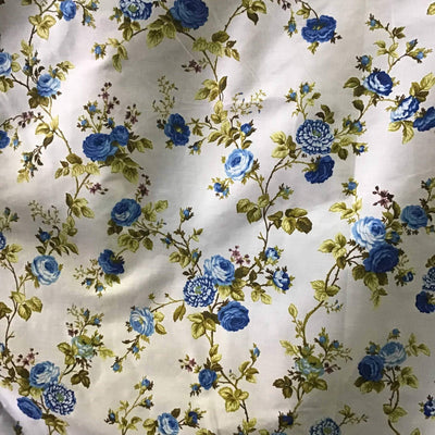 Floral Rose Blue on White Poly Cotton Fabric