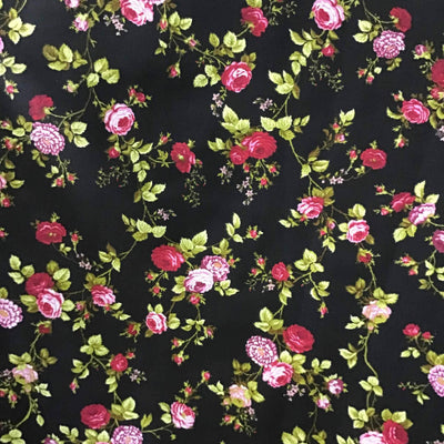 Floral Rose Red on Black Poly Cotton Fabric