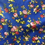 Floral Rose Red on Blue Poly Cotton Fabric