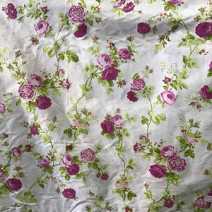 Floral Rose Pink on White Poly Cotton Fabric