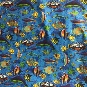 Marine Mixed Fish Blue Poly Cotton Fabric