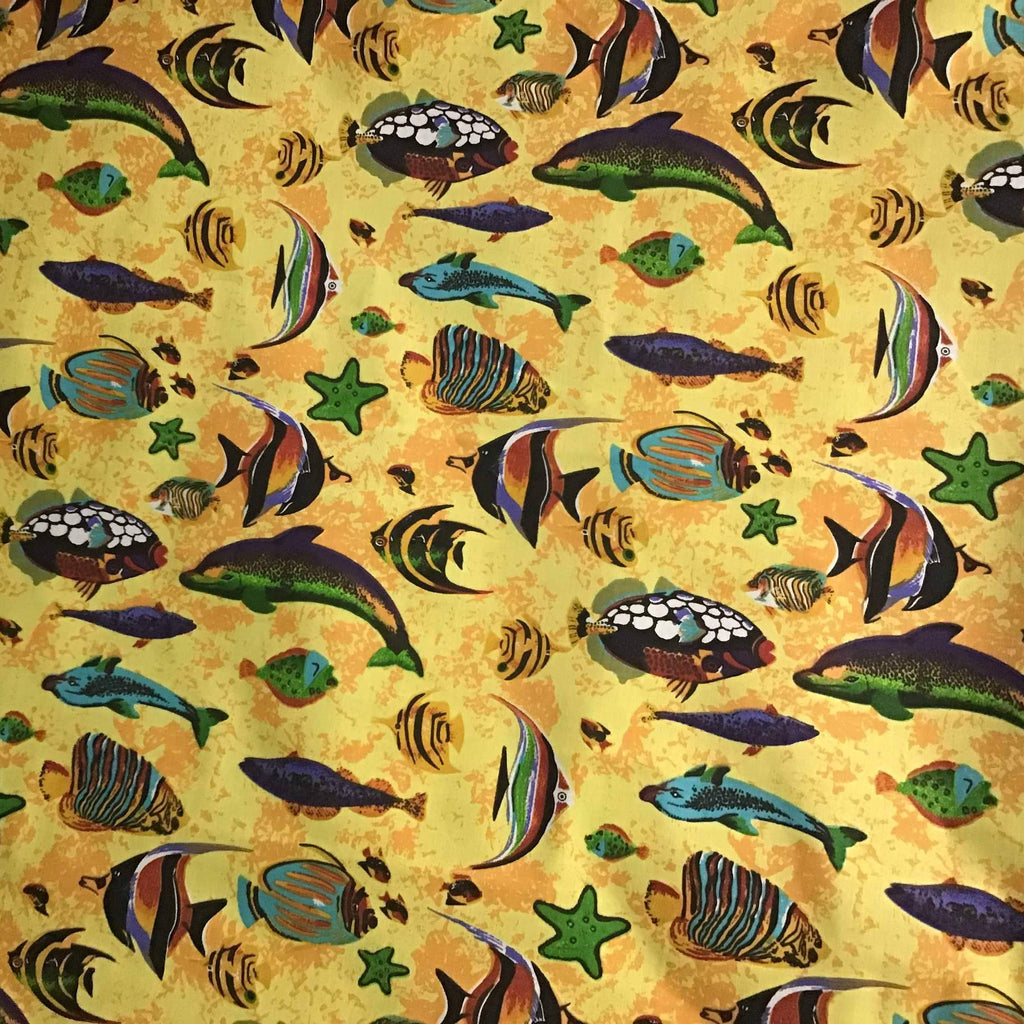Marine Mixed Fish Yellow Poly Cotton Fabric