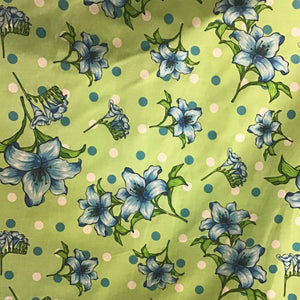Florals and Polka Dot on Green Poly Cotton Fabric