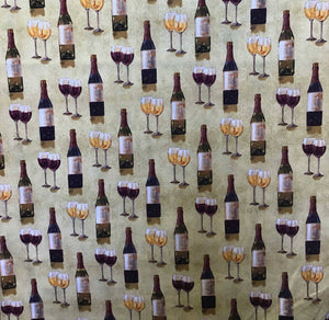 Wine Glass 100% Cotton Fabric