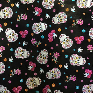 Skulls Flowers 100% Cotton Fabric