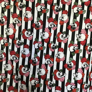 Black White Stripe FLoral Skulls 100% Cotton Fabric