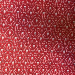 White Skulls on Red 100% Cotton Fabric