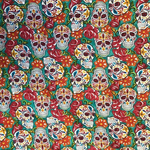 Colorful FLoral Skulls 100% Cotton Fabric