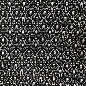 White Skulls on Black 100% Cotton Fabric