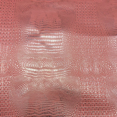 Pink Silver Two Tone Alligator Vinyl Fabric