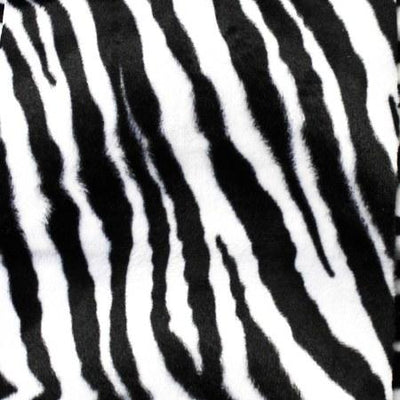 Zebra White Mid Velboa Fur Zebra Animal Short Pile Fabric