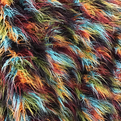 Multi-Color1 Curly Faux Fake Fur Long Pile Fabric
