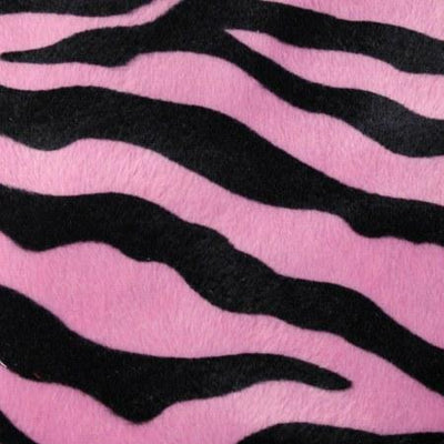 Zebra Pink Big Stripe Velboa Fur Zebra Animal Short Pile Fabric