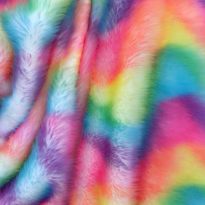 Rainbow Candy Shaggy Faux Fur Wave Rainbow Fur Fabric