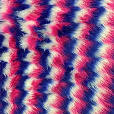 Red Blue White Zigzag Faux Fake Fur Long Pile Fabric