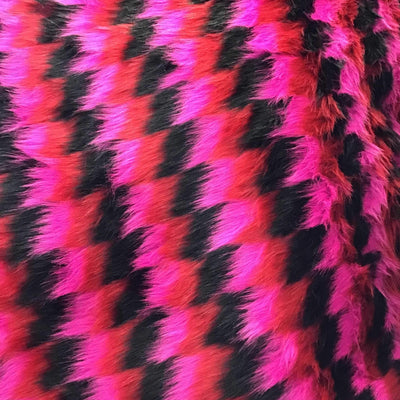 Black Red Fuchsia Zigzag Faux Fake Fur Long Pile Fabric