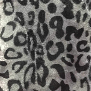 Leopard Gray Velboa Fur Leopard Animal Short Pile Fabric