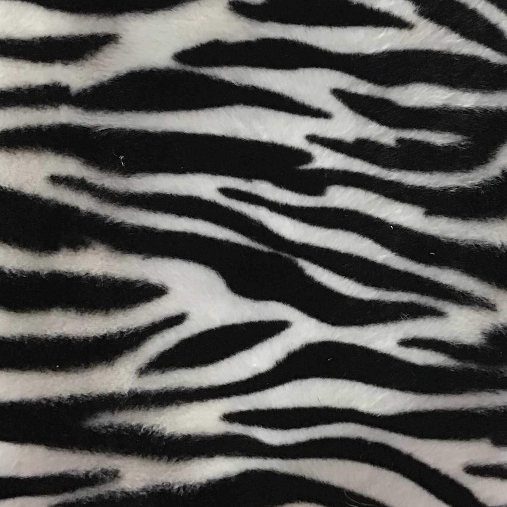 Zebra White Small Stripe Velboa Fur Zebra Animal Short Pile Fabric